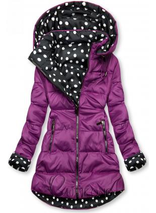 Obojstranná bunda fialová/bodkovaná