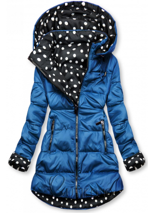 Obojstranná bunda kobaltová/bodkovaná