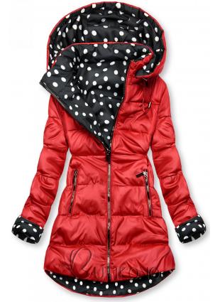 Obojstranná bunda červená/bodkovaná
