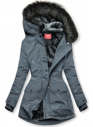Sivá bunda zateplená plyšom