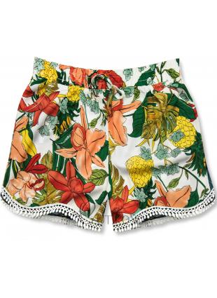 Kvetinové šortky s čipkou biela/oranžová