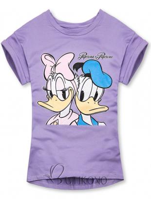 Fialové tričko Paperina e Paperino