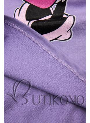 Fialové tričko s kreslenou potlačou myšky
