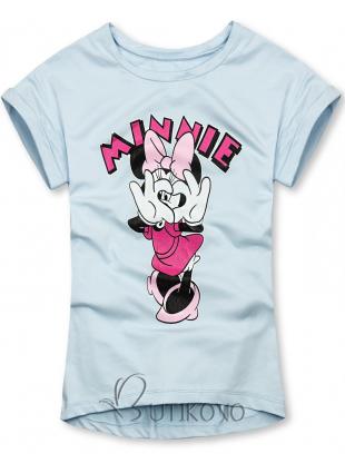 Baby blue tričko s kreslenou potlačou myšky