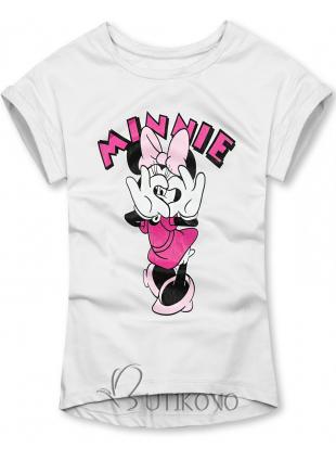 Biele tričko s kreslenou potlačou myšky