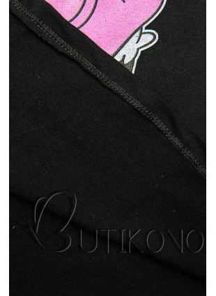 Čierne tričko s kreslenou potlačou myšky