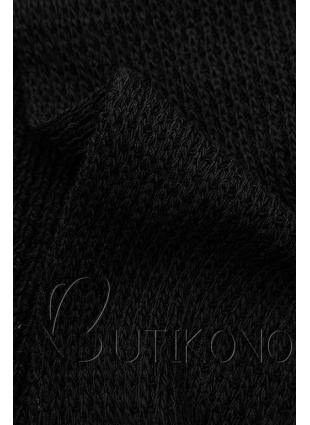 Čierny asymetrický pletený kardigán