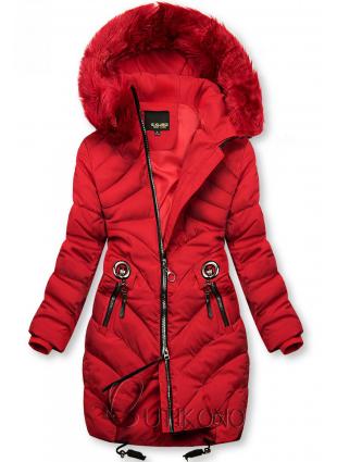 Červená zimná bunda s umelou kožušinou