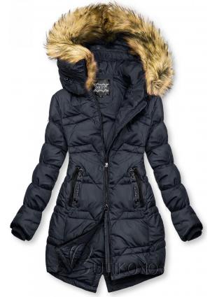 Tmavomodrá prešívaná bunda na jeseň/zimu