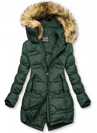Tmavozelená prešívaná bunda na jeseň/zimu