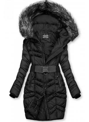 Čierna predĺžená bunda s opaskom