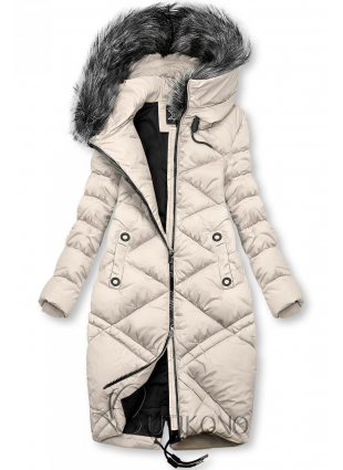 Krémová dlhá prešívaná bunda