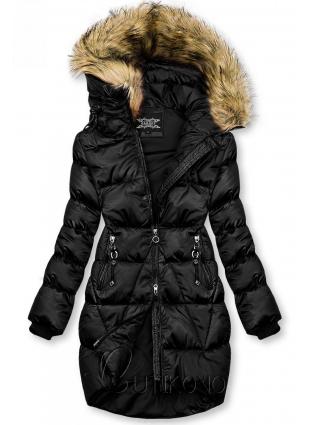 Čierna lesklá zimná bunda