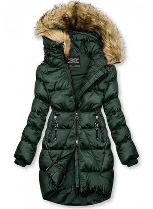 Tmavozelená lesklá zimná bunda