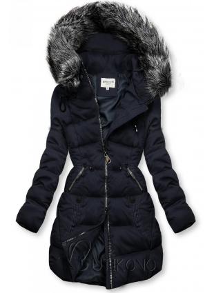 Tmavomodrá prešívaná bunda s kapucňou