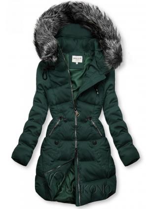 Zelená prešívaná bunda s kapucňou