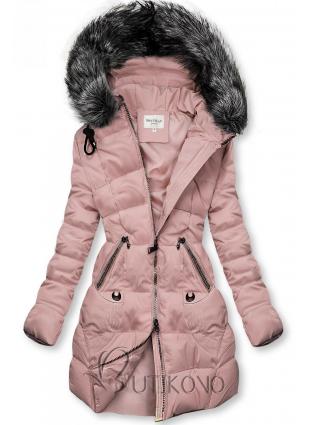 Ružová prešívaná bunda s kapucňou
