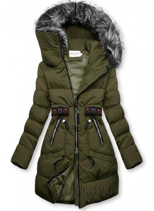 Khaki zimná bunda s čiernymi detailami
