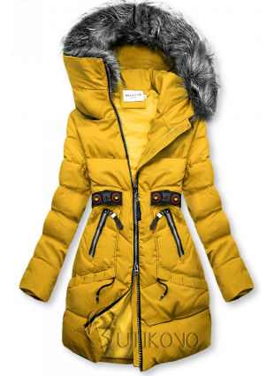 Žltá zimná bunda s čiernymi detailami
