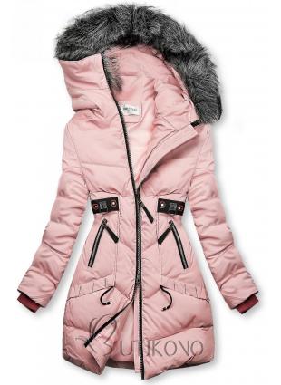 Ružová zimná bunda s čiernymi detailami