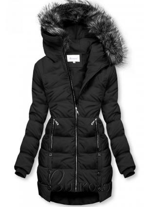 Čierna prešívaná bunda na zimu