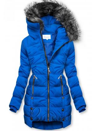 Kobaltovomodrá prešívaná bunda na zimu