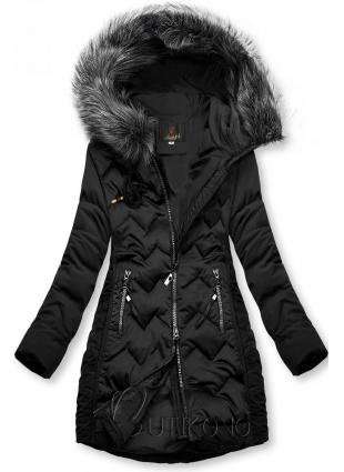Čierna prešívaná bunda na obdobie jeseň/zima