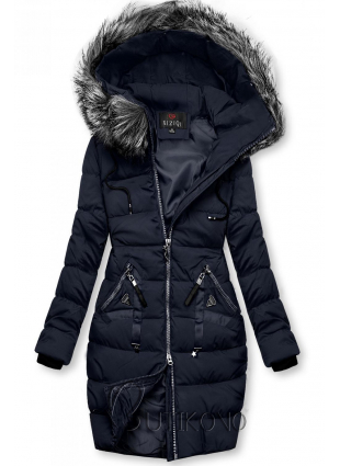 Zimná prešívaná bunda tmavá modrá