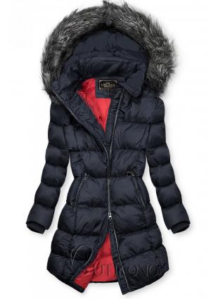 Tmavomodrá zimná bunda s kožušinou