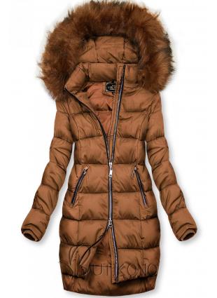 Hnedá zimná bunda na zips