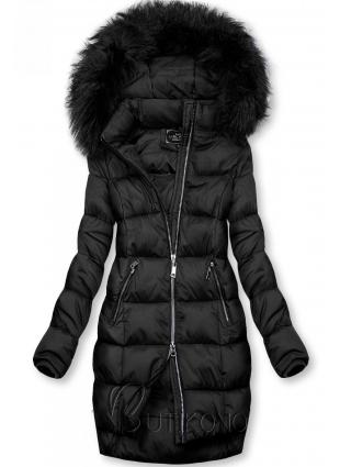 Čierna zimná bunda na zips