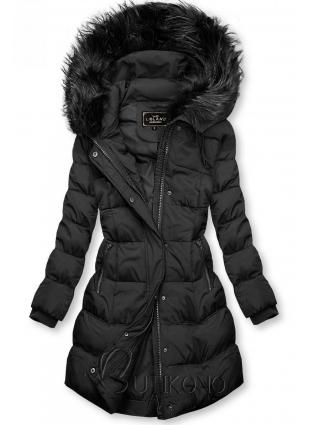 Čierna zimná bunda s kapucňou