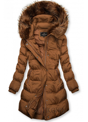 Hnedá zimná bunda s kapucňou
