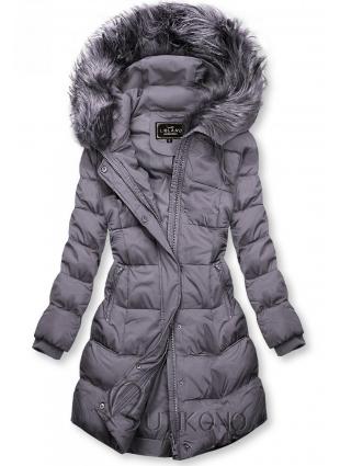 Lila zimná bunda s kapucňou