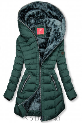 Zimná prešívaná bunda s kapucňou tmavozelená