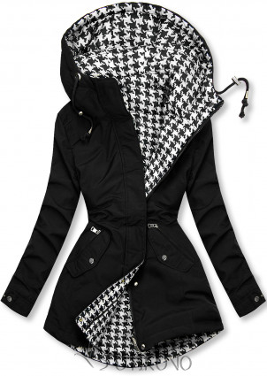 Čierna obojstranná bunda s pepito vzorom