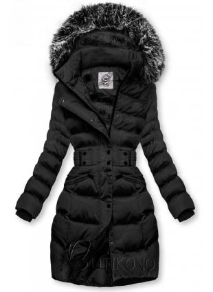 Čierna bunda s odopínateľnou kapucňou