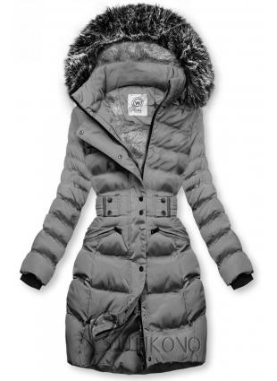 Sivá bunda s odopínateľnou kapucňou