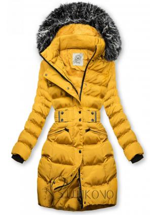 Horčicovožltá bunda s odopínateľnou kapucňou