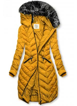Horčicovožltá  dlhá prešívaná bunda
