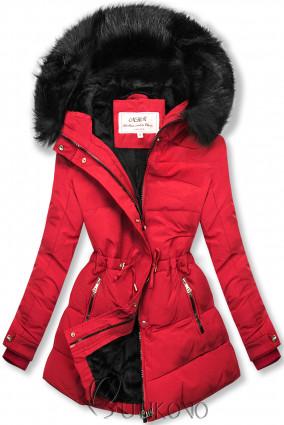 Červená-čierna zimná bunda