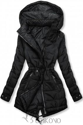 Čierna/sivá obojstranná bunda s výplňou
