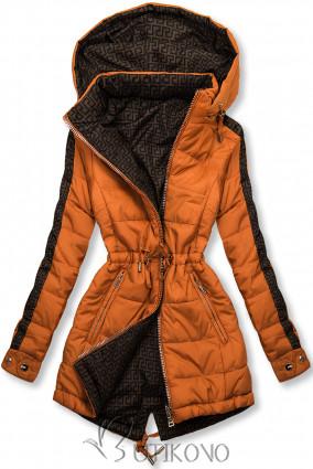 Tehlovooranžová/hnedá obojstranná bunda s výplňou