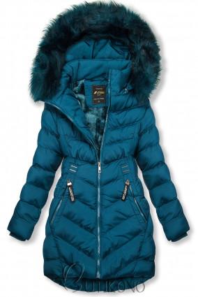 Petrolejovo modrá zimná bunda s odnímateľnou kapucňou