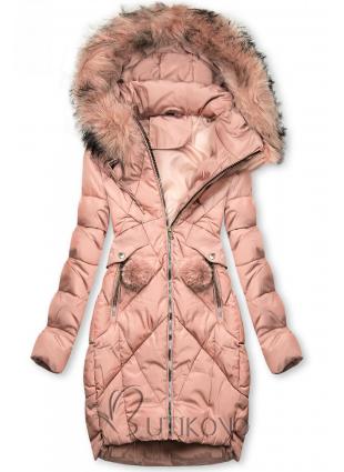 Ružová zimná bunda s brmbolcami