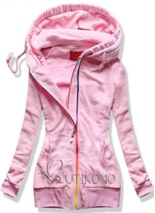 Ružová fleecová mikina s farebným zipsom