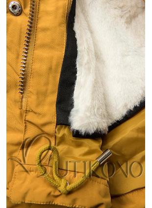 Žltá parka na zimu s odopínateľným futrom