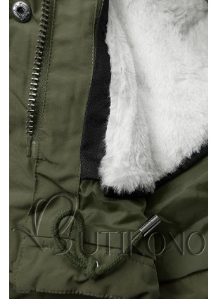 Khaki/biela parka na zimu s odopínateľným futrom