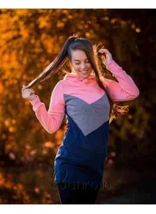 Mikina s obliekaním cez hlavu ružová/sivá/modrá