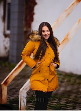 Žlto-čierna obojstranná zimná bunda